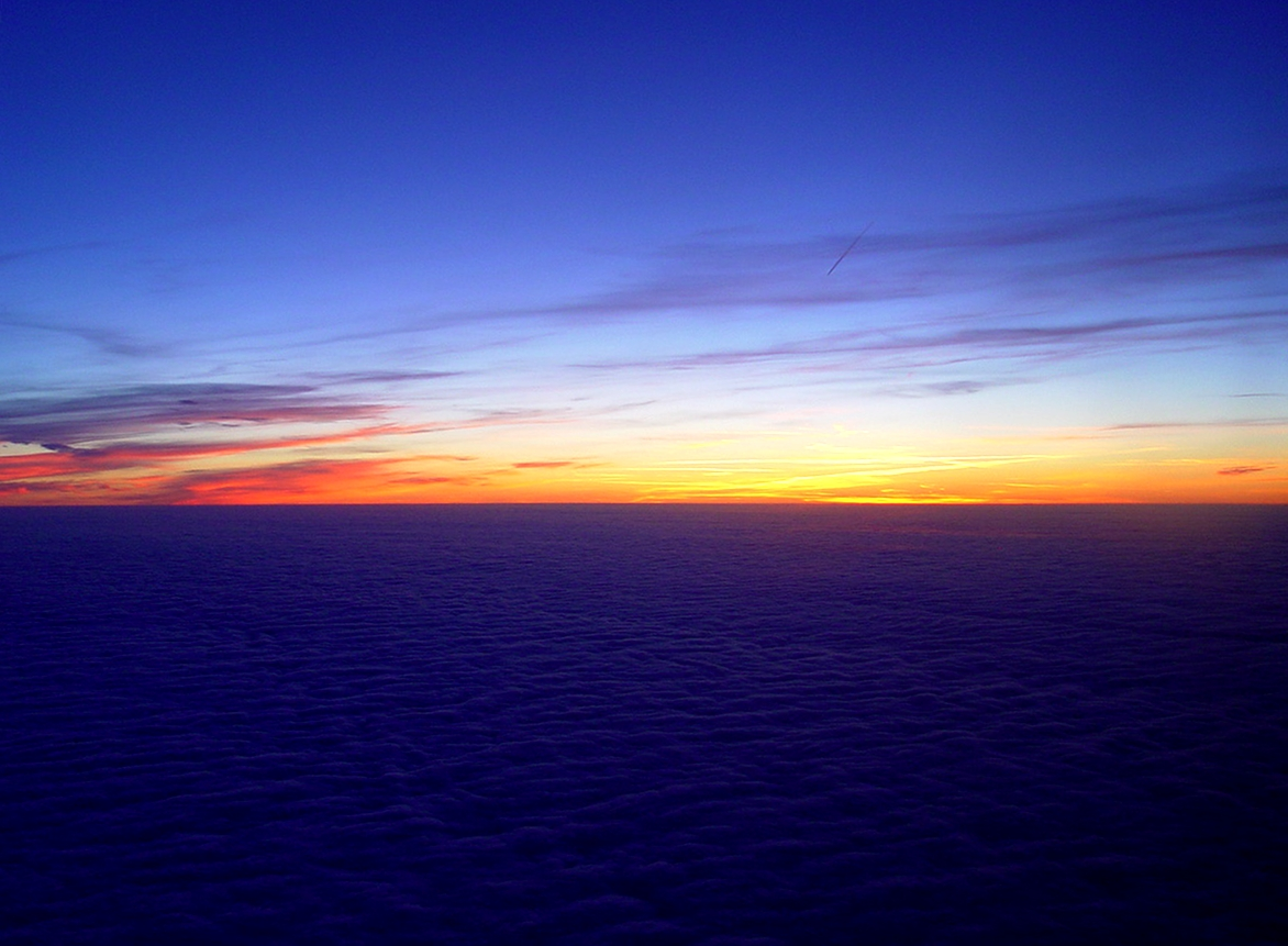 sunset viewed from an airplane